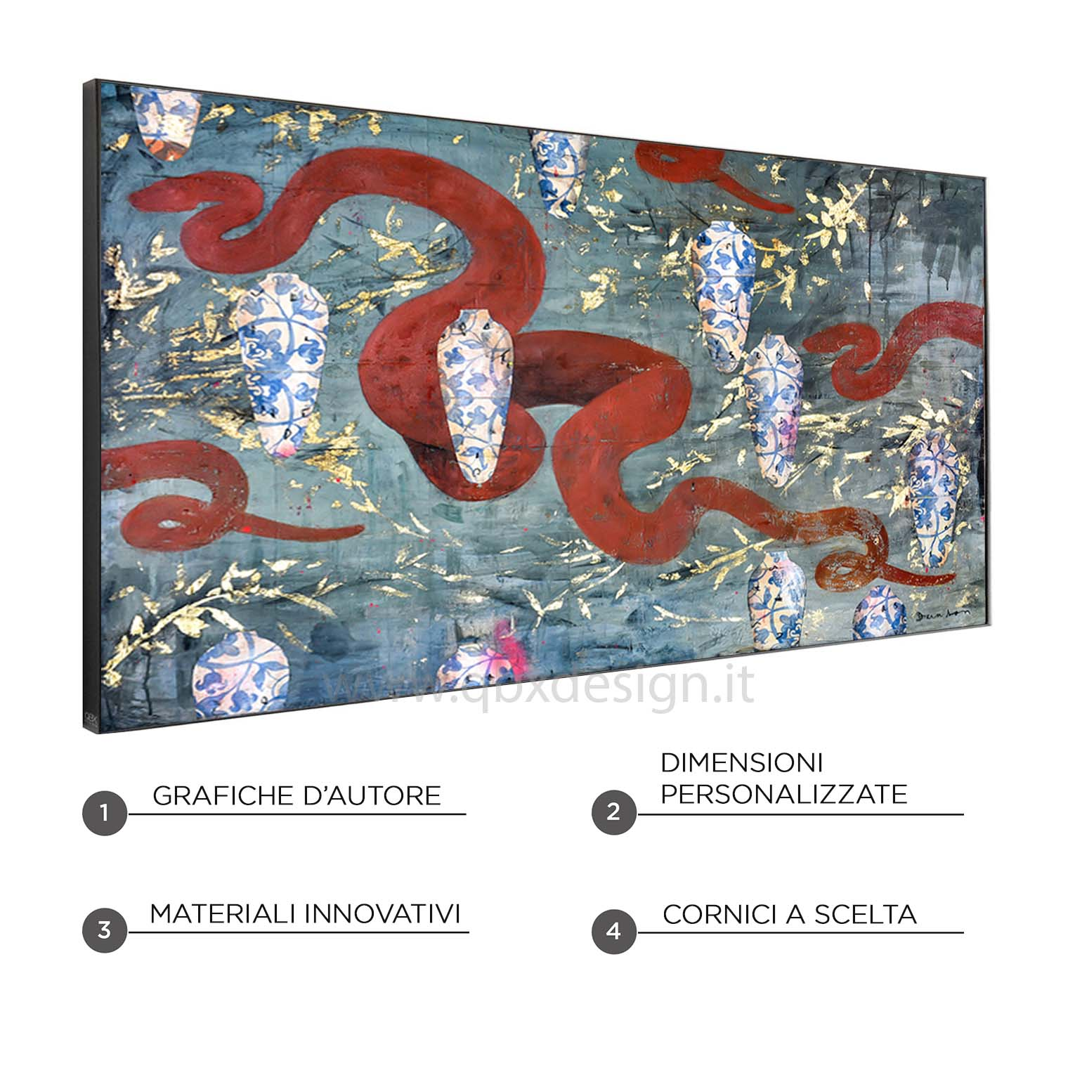 SNAKES AND VASES - QBX DESIGN QUADRO ASTRATTO