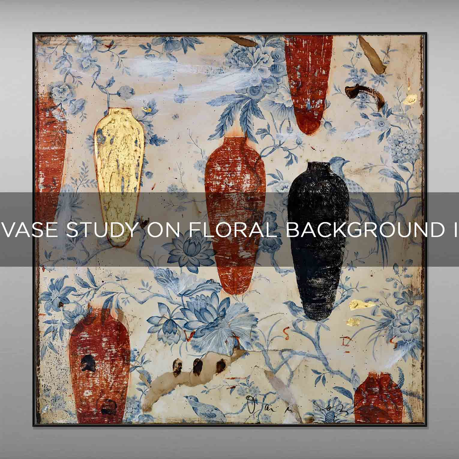 VASE STUDY ON FLORAL BACKGROUND I - QBX DESIGN QUADRI ASTRATTI