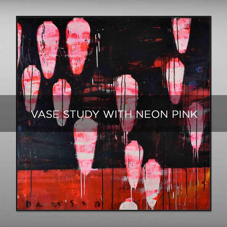 VASE STUDY WHIT NEON PINK - QBX DESIGN QUADRI ASTRATTI