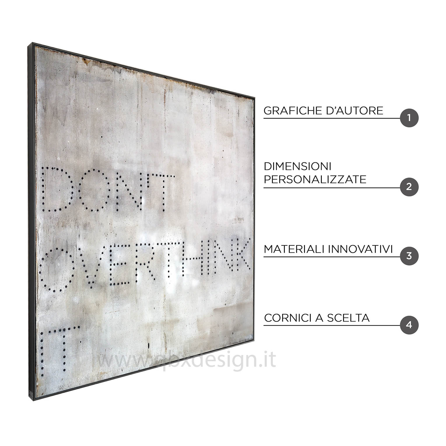 PDON'T OVERTHINK IT - QBX DESIGN QUADRO ASTRATTO